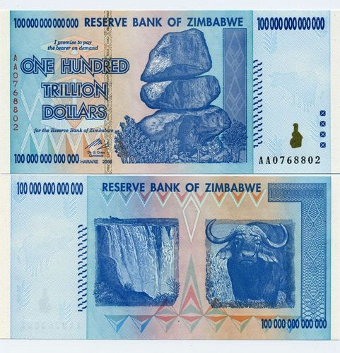 100 Trillion Dollar Zimbabwe Note