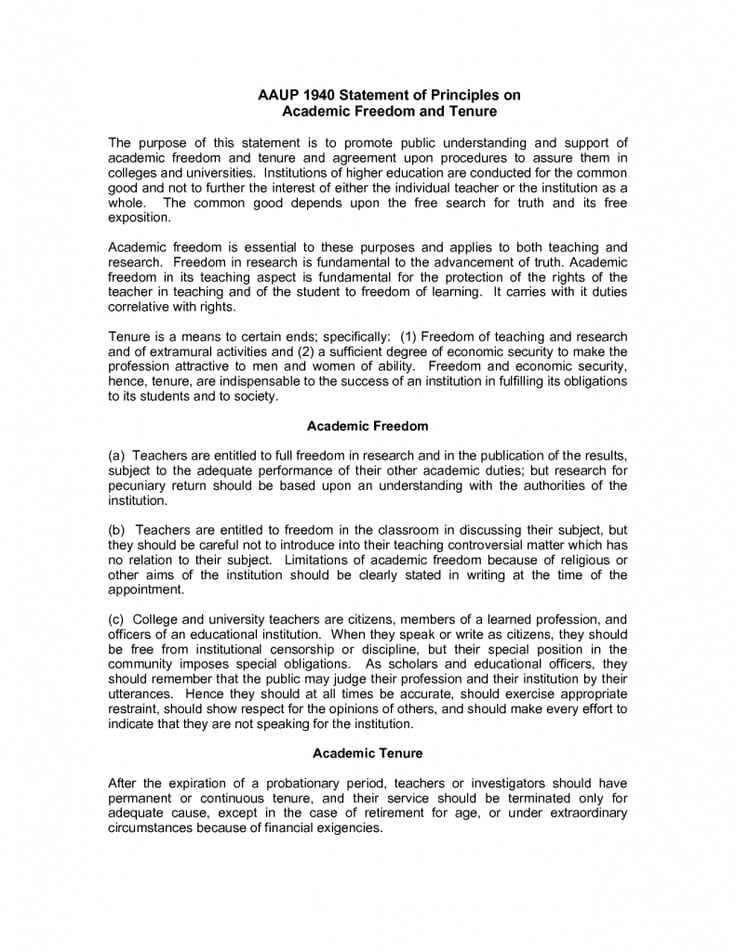 AAUP 1940 Statement of Principles on Academic Freedom and Tenure