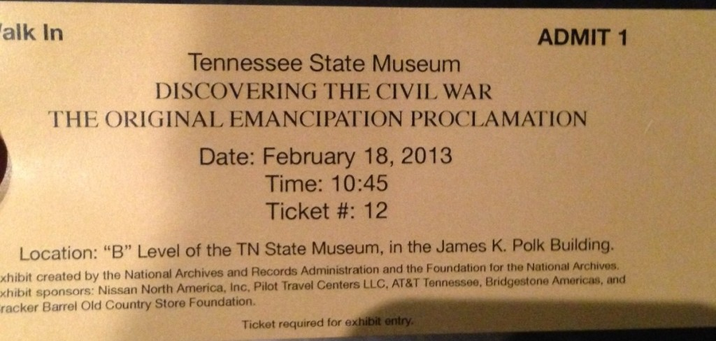 Emancipation Proclamation Admit Ticket