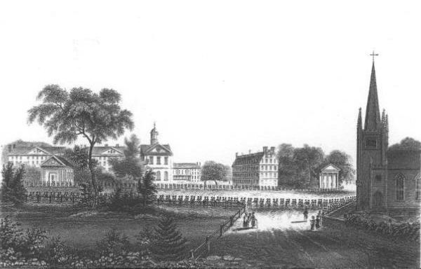 Old Lithograph of Harvard