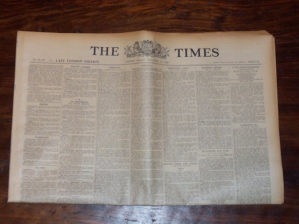 Historic Newspaper London The TImes 1938