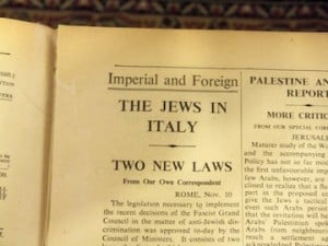 Jews in Italy Historic Newspaper