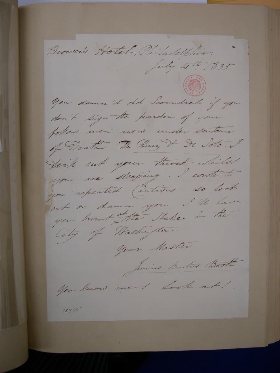 Junius-Booth-letter