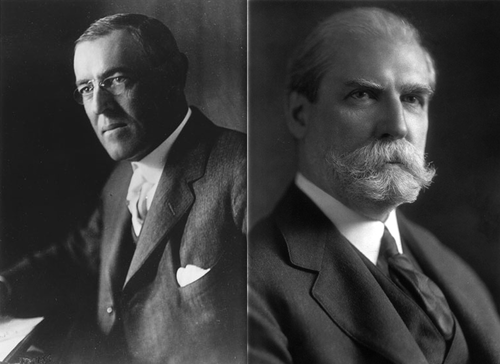 Image result for Woodrow Wilson defeats Charles Hughes